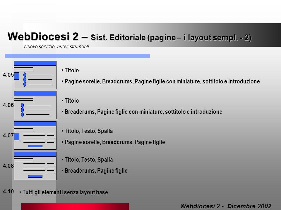 WebDiocesi 2 – Sist. Editoriale (pagine – i layout sempl. - 2) Nuovo servizio, nuovi strumenti 4.05 Titolo Pagine sorelle, Breadcrums, Pagine figlie c