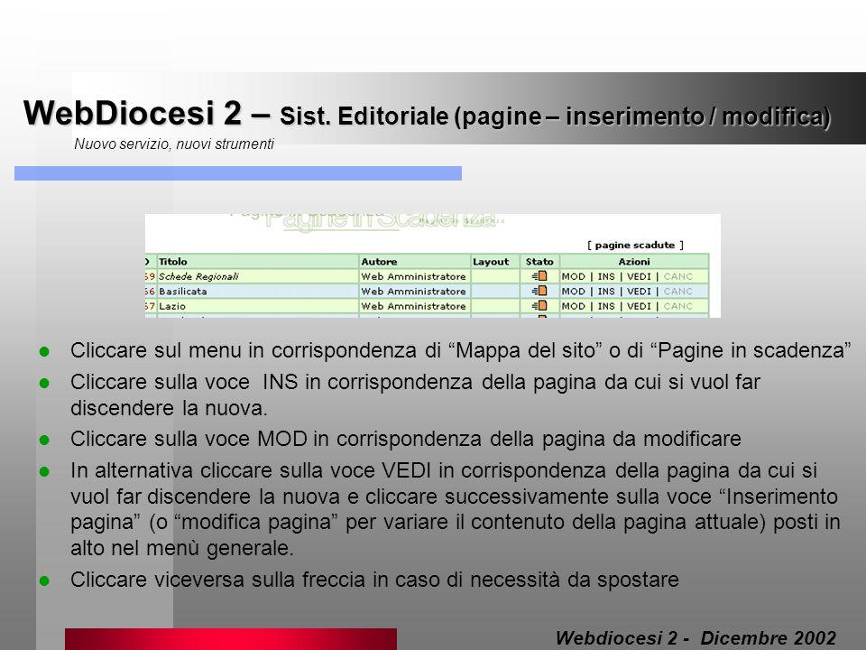 WebDiocesi 2 – Sist. Editoriale (pagine – inserimento / modifica) Nuovo servizio, nuovi strumenti Cliccare sul menu in corrispondenza di Mappa del sit