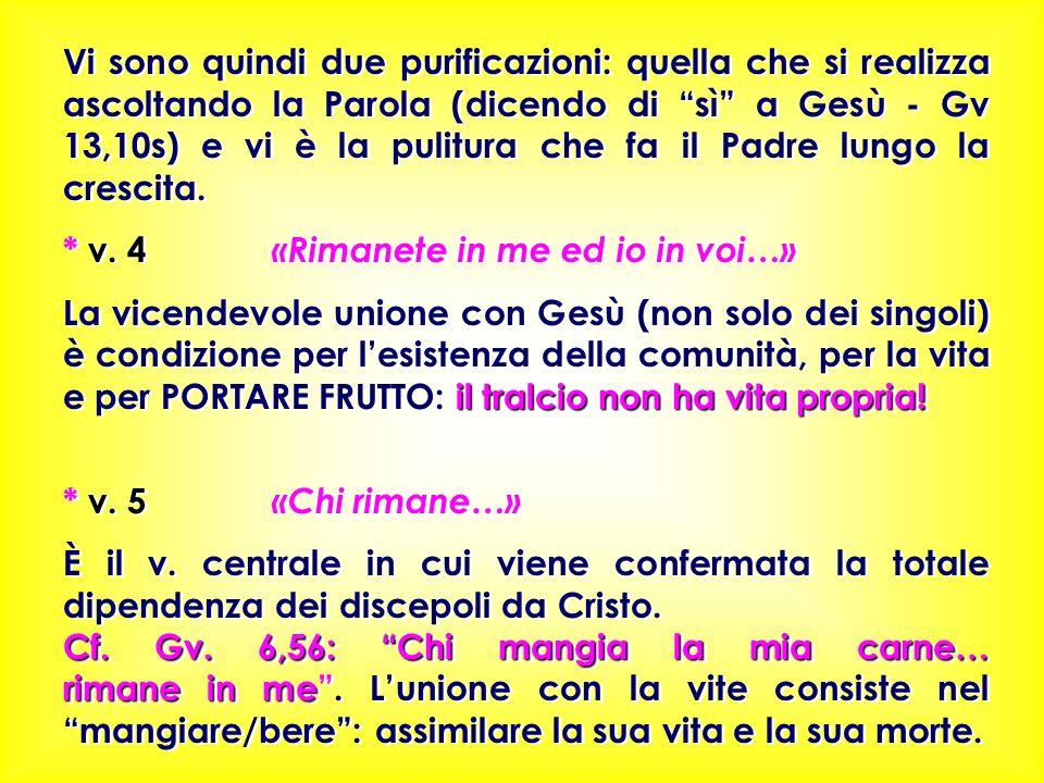 Vi sono quindi due purificazioni: quella che si realizza ascoltando la Parola (dicendo di sì a Gesù - Gv 13,10s) e vi è la pulitura che fa il Padre lungo la crescita.