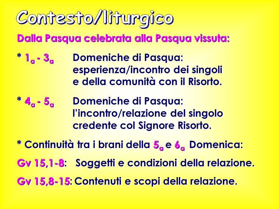 Dalla Pasqua celebrata alla Pasqua vissuta: 1 a - 3 a * 1 a - 3 a Domeniche di Pasqua: esperienza/incontro dei singoli e della comunità con il Risorto.