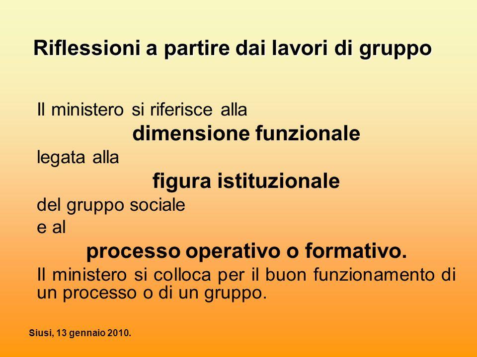 Siusi, 13 gennaio 2010. Riflessioni a partire dai lavori di gruppo Il ministero si riferisce alla dimensione funzionale legata alla figura istituziona