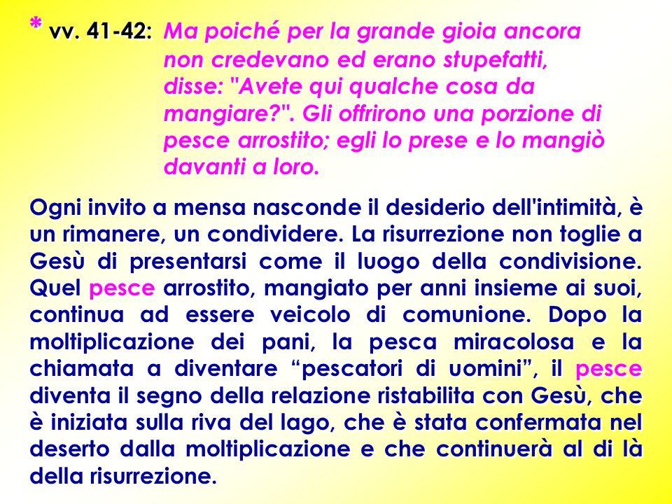 * vv. 41-42: Ma poiché per la grande gioia ancora non credevano ed erano stupefatti, disse: