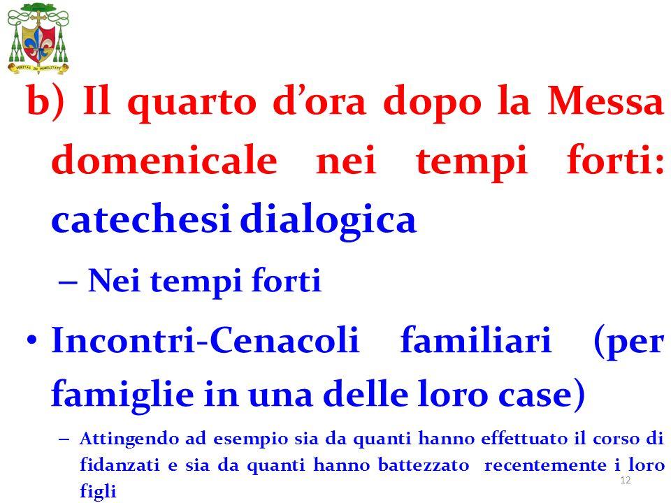 12 b) Il quarto dora dopo la Messa domenicale nei tempi forti: catechesi dialogica – Nei tempi forti Incontri-Cenacoli familiari (per famiglie in una
