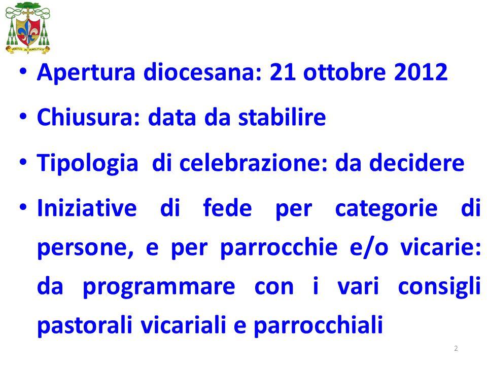 2 Apertura diocesana: 21 ottobre 2012 Chiusura: data da stabilire Tipologia di celebrazione: da decidere Iniziative di fede per categorie di persone,