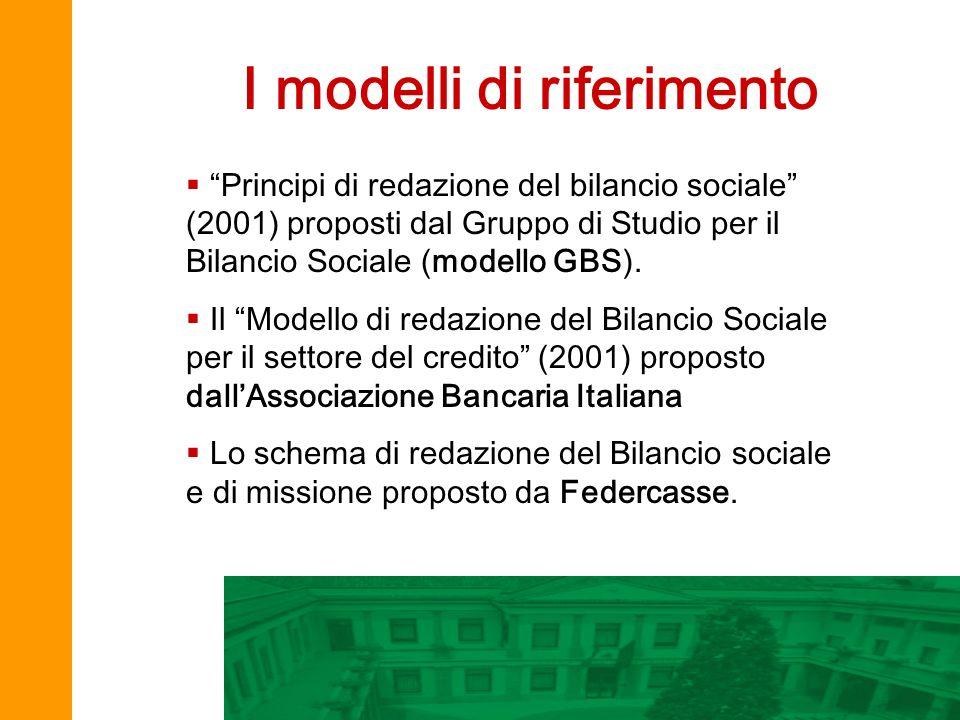 I modelli di riferimento Principi di redazione del bilancio sociale (2001) proposti dal Gruppo di Studio per il Bilancio Sociale (modello GBS). Il Mod