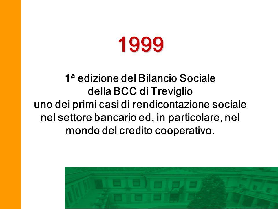 1999 1ª edizione del Bilancio Sociale della BCC di Treviglio uno dei primi casi di rendicontazione sociale nel settore bancario ed, in particolare, ne