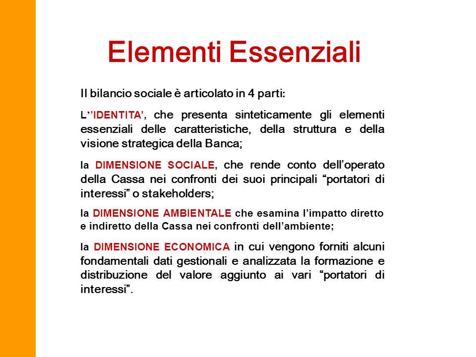 Elementi Essenziali Il bilancio sociale è articolato in 4 parti : L IDENTITA, che presenta sinteticamente gli elementi essenziali delle caratteristich