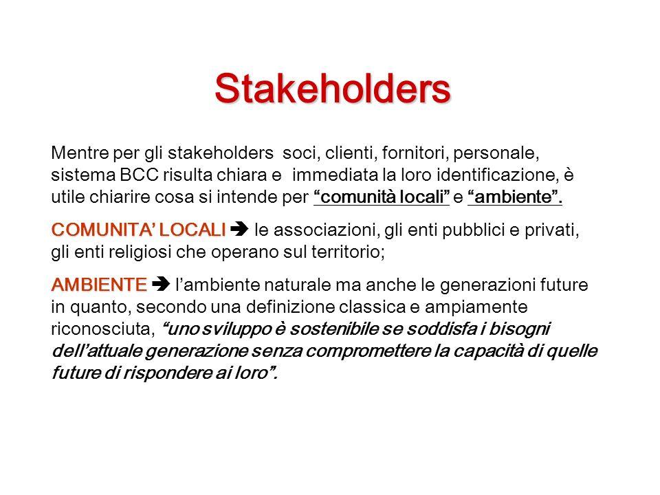 Stakeholders Mentre per gli stakeholders soci, clienti, fornitori, personale, sistema BCC risulta chiara e immediata la loro identificazione, è utile