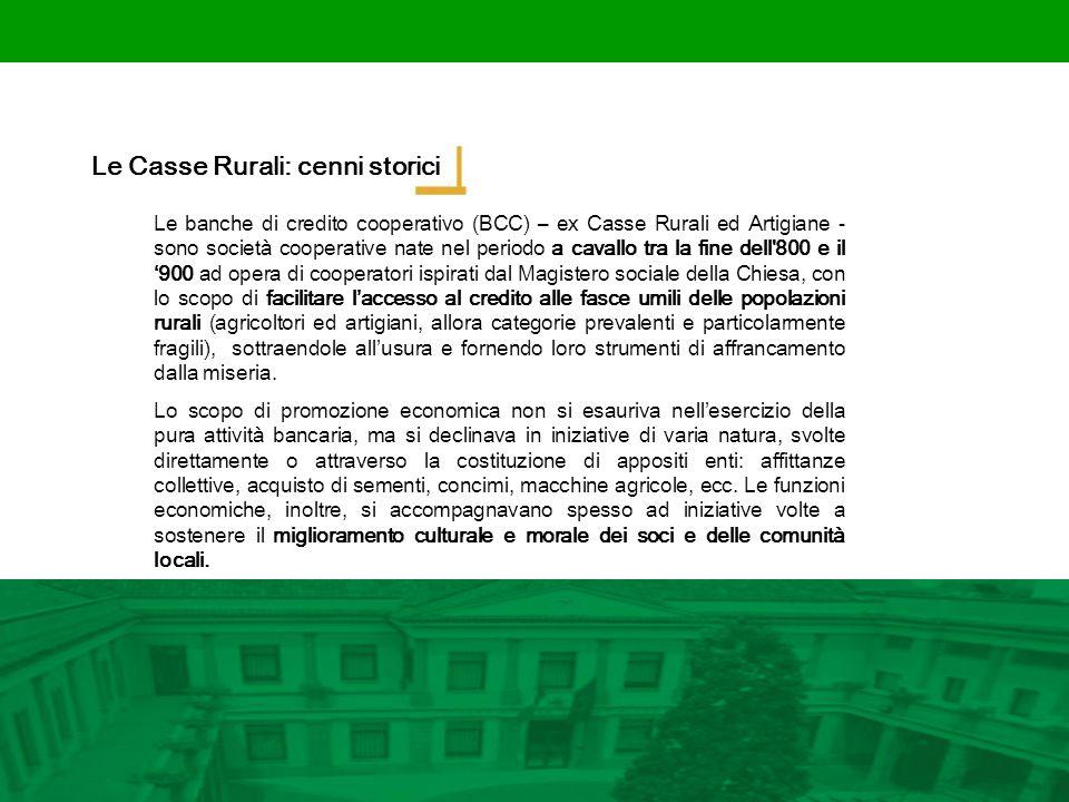 Le Casse Rurali: cenni storici Le banche di credito cooperativo (BCC) – ex Casse Rurali ed Artigiane - sono società cooperative nate nel periodo a cav