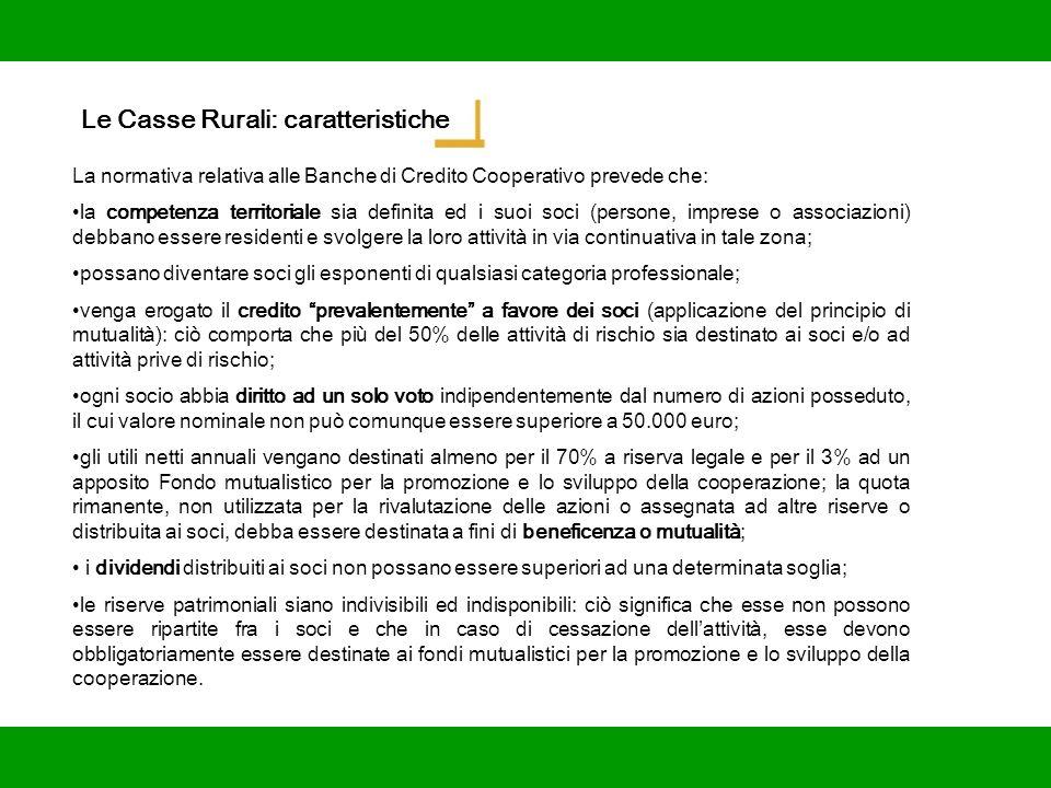 Le Casse Rurali: caratteristiche La normativa relativa alle Banche di Credito Cooperativo prevede che: la competenza territoriale sia definita ed i su