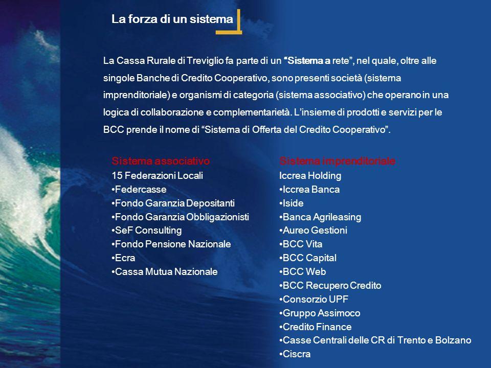 La Cassa Rurale di Treviglio fa parte di un Sistema a rete, nel quale, oltre alle singole Banche di Credito Cooperativo, sono presenti società (sistem
