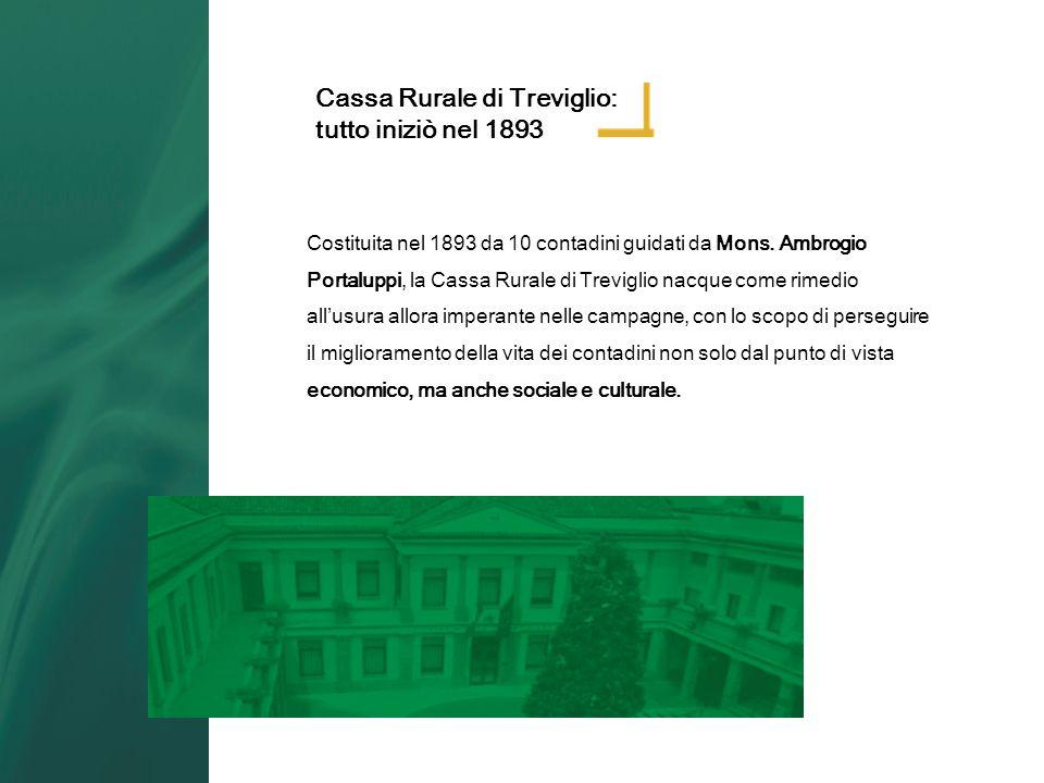 Costituita nel 1893 da 10 contadini guidati da Mons. Ambrogio Portaluppi, la Cassa Rurale di Treviglio nacque come rimedio allusura allora imperante n