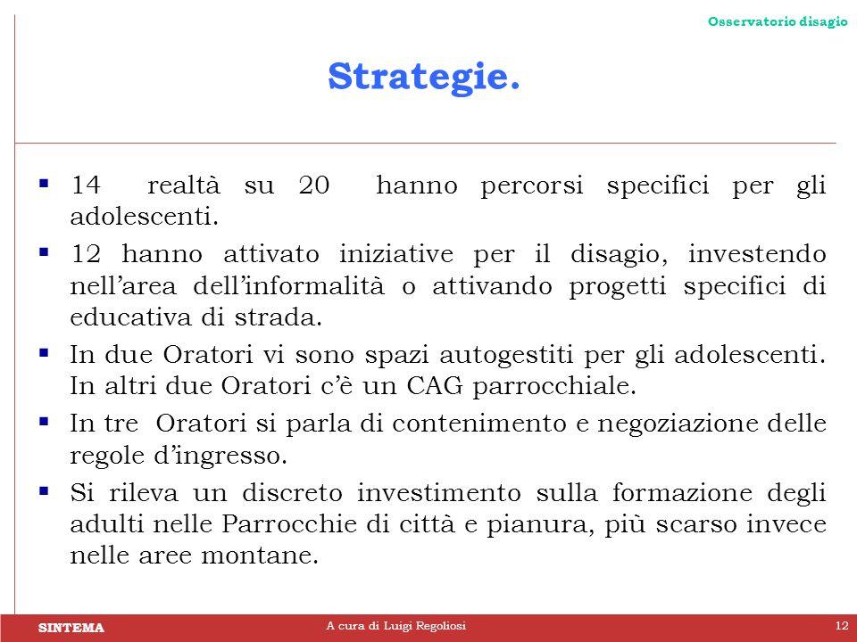 SINTEMA Osservatorio disagio A cura di Luigi Regoliosi12 Strategie. 14 realtà su 20 hanno percorsi specifici per gli adolescenti. 12 hanno attivato in