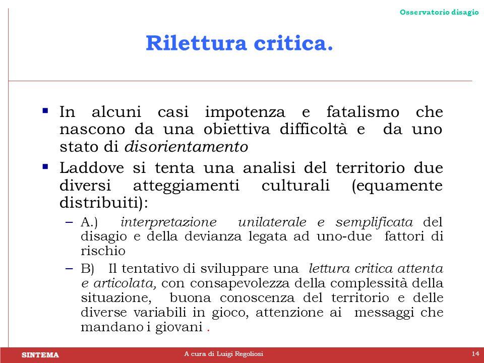 SINTEMA Osservatorio disagio A cura di Luigi Regoliosi14 Rilettura critica. In alcuni casi impotenza e fatalismo che nascono da una obiettiva difficol