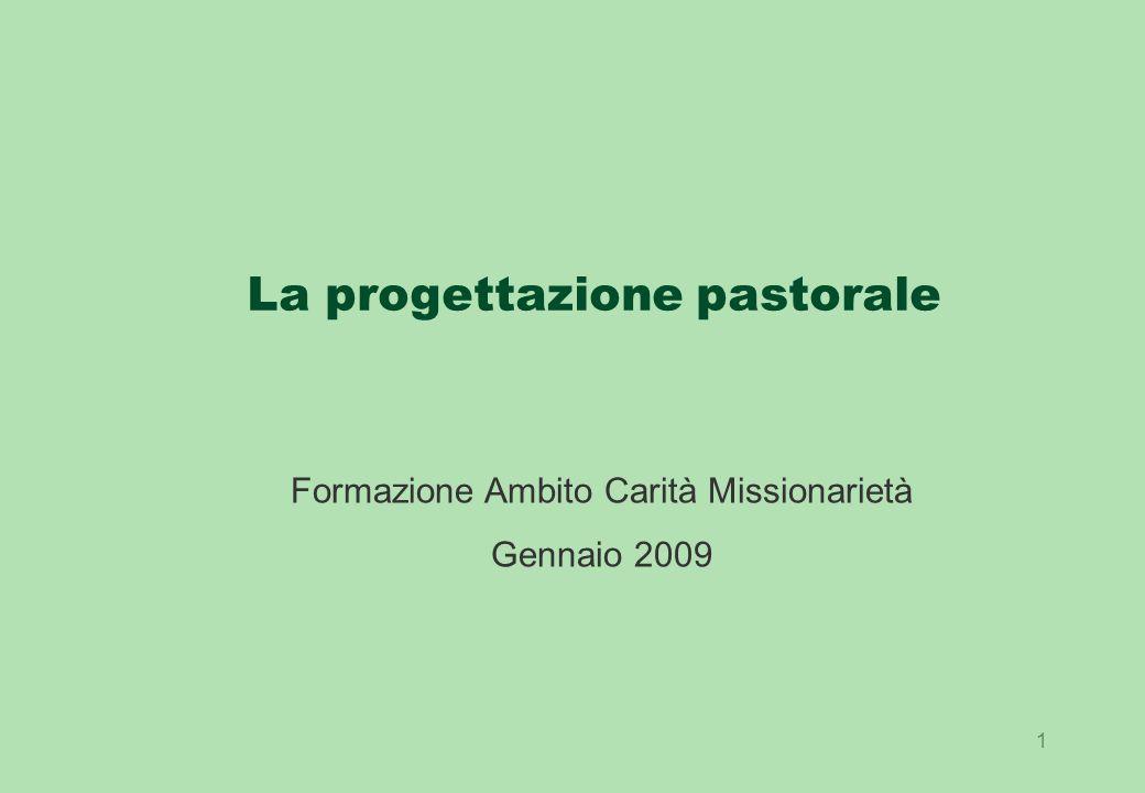 1 La progettazione pastorale Formazione Ambito Carità Missionarietà Gennaio 2009