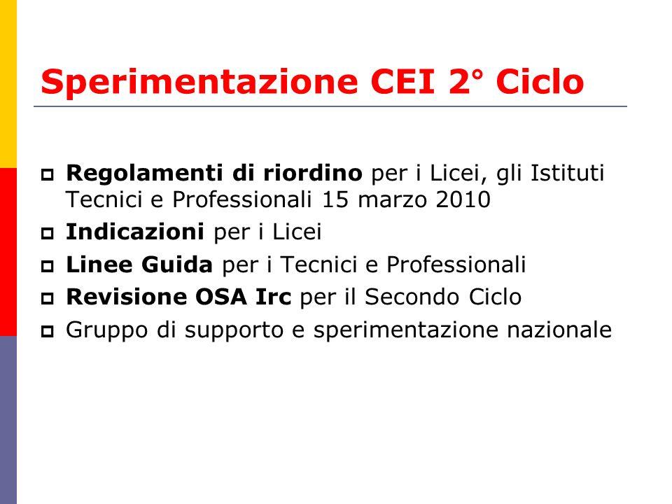 Sperimentazione CEI 2° Ciclo Regolamenti di riordino per i Licei, gli Istituti Tecnici e Professionali 15 marzo 2010 Indicazioni per i Licei Linee Gui