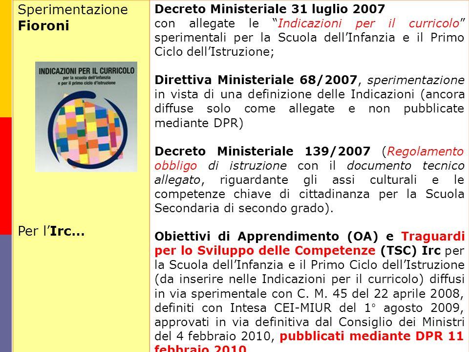 Sperimentazione Fioroni Per lIrc… Decreto Ministeriale 31 luglio 2007 con allegate le Indicazioni per il curricolo sperimentali per la Scuola dellInfa