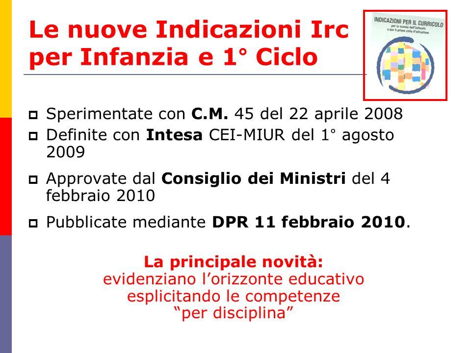 Le nuove Indicazioni Irc per Infanzia e 1° Ciclo Sperimentate con C.M. 45 del 22 aprile 2008 Definite con Intesa CEI-MIUR del 1° agosto 2009 Approvate
