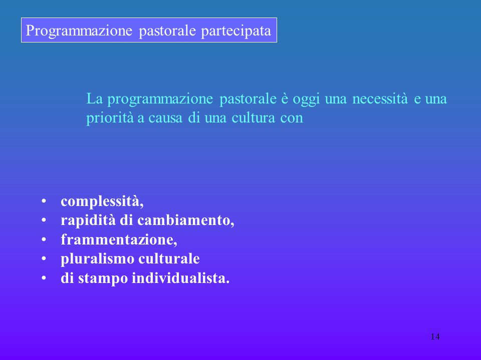 Programmazione pastorale partecipata 14 La programmazione pastorale è oggi una necessità e una priorità a causa di una cultura con complessità, rapidi