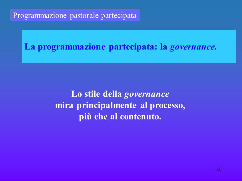 Programmazione pastorale partecipata 16 La programmazione partecipata: la governance. Lo stile della governance mira principalmente al processo, più c