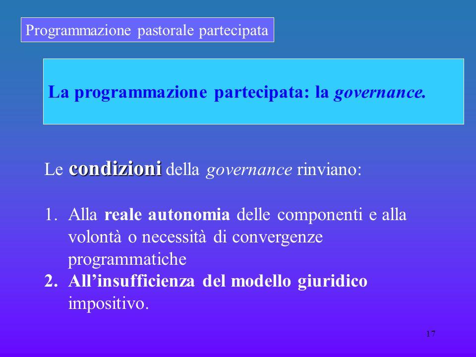 Programmazione pastorale partecipata 17 La programmazione partecipata: la governance. condizioni Le condizioni della governance rinviano: 1.Alla reale