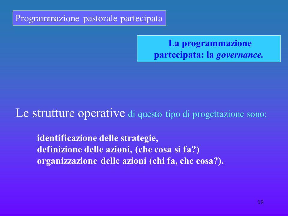 Programmazione pastorale partecipata 19 La programmazione partecipata: la governance. Le strutture operative di questo tipo di progettazione sono:  i
