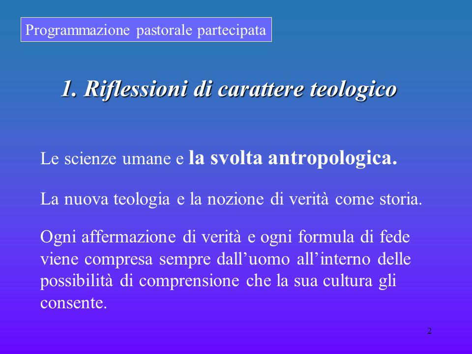 Programmazione pastorale partecipata 2 1. Riflessioni di carattere teologico Le scienze umane e la svolta antropologica. La nuova teologia e la nozion