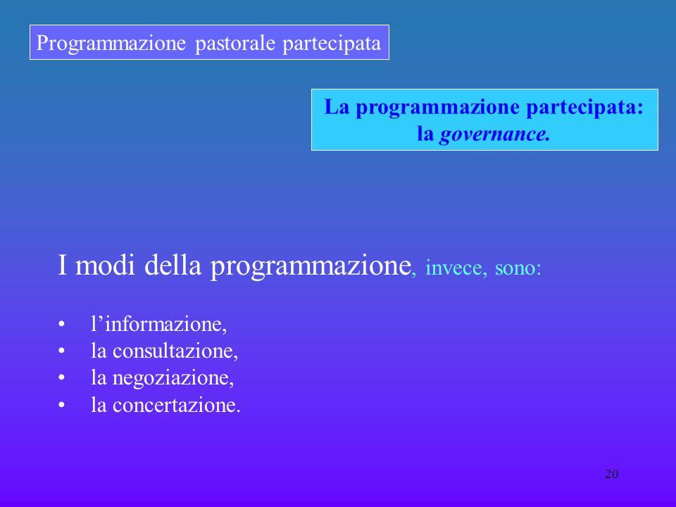 Programmazione pastorale partecipata 20 La programmazione partecipata: la governance. I modi della programmazione, invece, sono: linformazione, la con