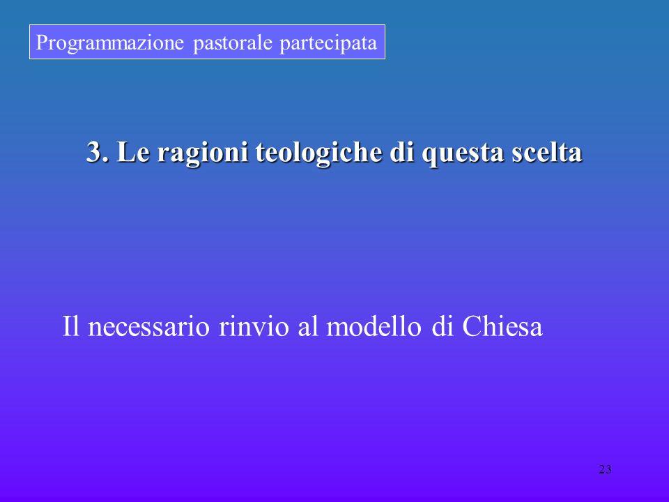 Programmazione pastorale partecipata 23 3. Le ragioni teologiche di questa scelta Il necessario rinvio al modello di Chiesa