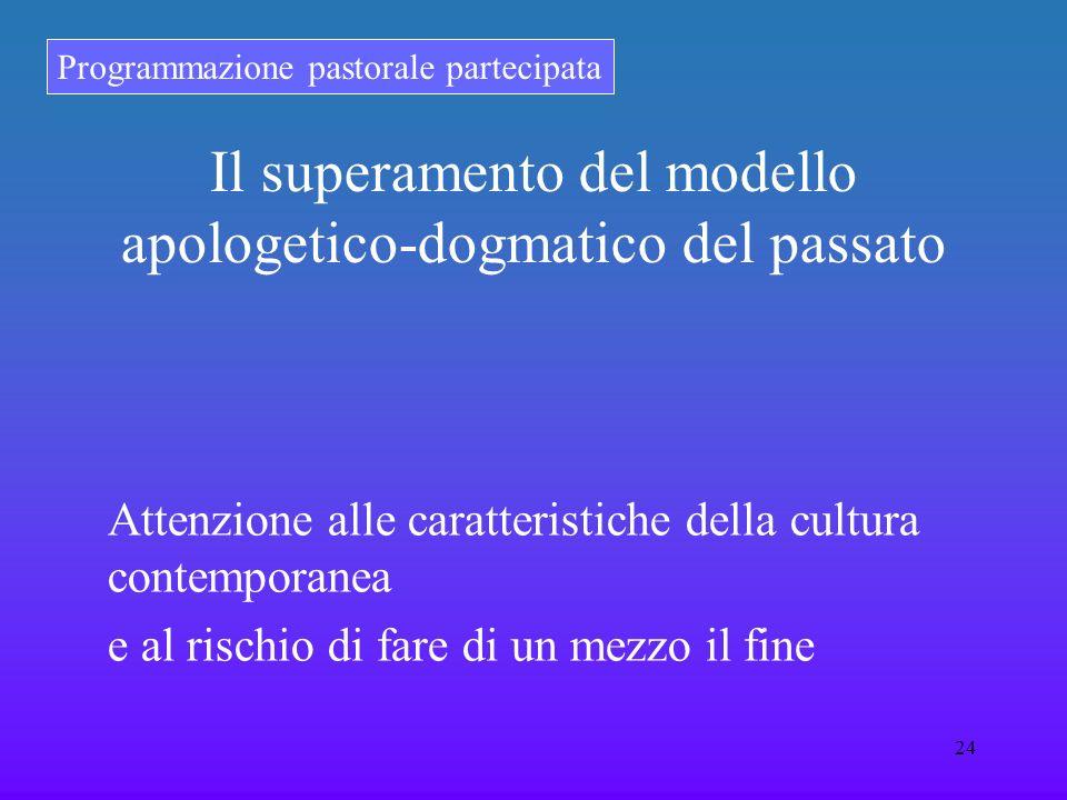 Programmazione pastorale partecipata 24 Il superamento del modello apologetico-dogmatico del passato Attenzione alle caratteristiche della cultura con