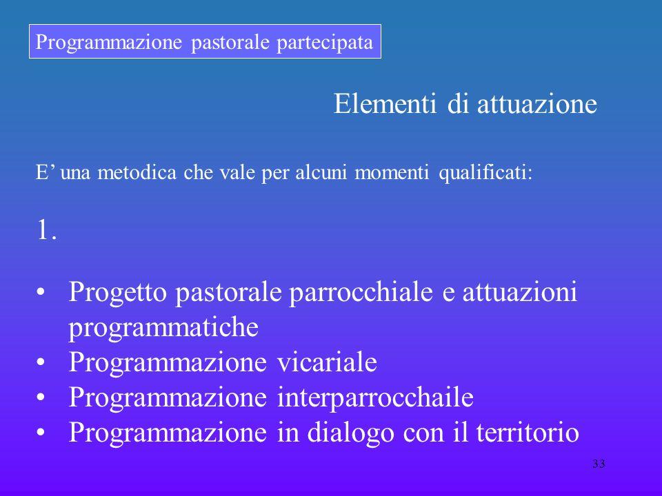 Programmazione pastorale partecipata 33 E una metodica che vale per alcuni momenti qualificati: 1. Progetto pastorale parrocchiale e attuazioni progra