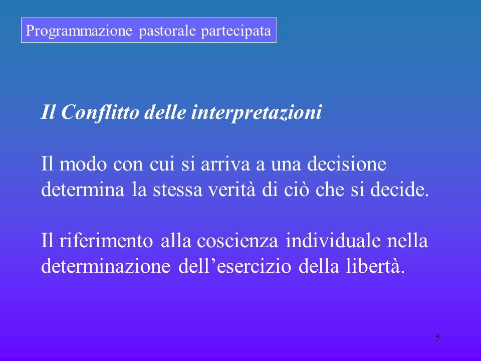 Programmazione pastorale partecipata 5 Il Conflitto delle interpretazioni Il modo con cui si arriva a una decisione determina la stessa verità di ciò