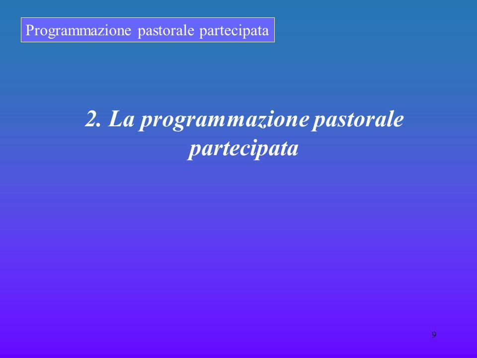 Programmazione pastorale partecipata 9 2. La programmazione pastorale partecipata