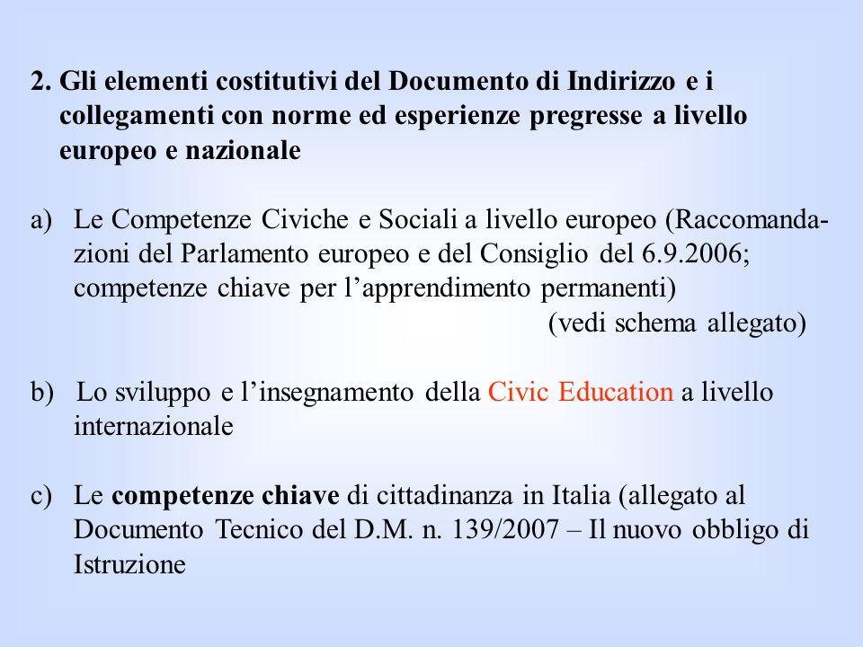 2. Gli elementi costitutivi del Documento di Indirizzo e i collegamenti con norme ed esperienze pregresse a livello europeo e nazionale a)Le Competenz