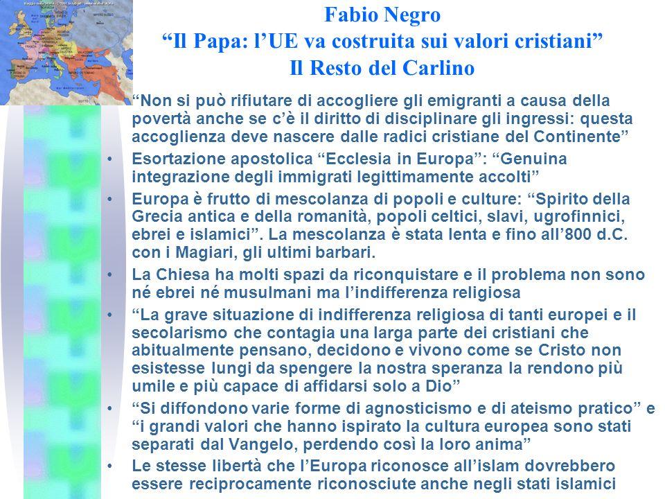 Mimmo Muolo Un nuovo umanesimo dalle radici cristiane Avvenire 21.7.2003 Il Papa parla ai partecipanti al Simposio su Chiesa e università in Europa Un