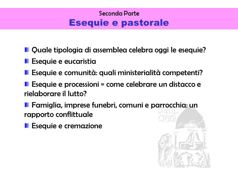 Seconda Parte Esequie e pastorale Quale tipologia di assemblea celebra oggi le esequie.