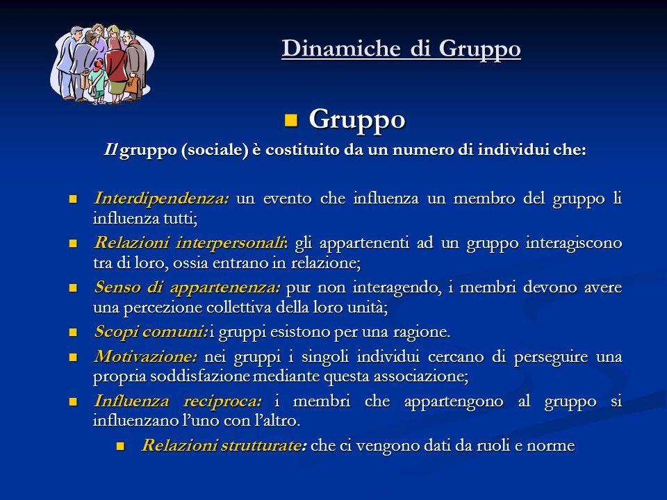 Dinamiche di Gruppo Gruppo Gruppo Il gruppo (sociale) è costituito da un numero di individui che: Interdipendenza: un evento che influenza un membro d