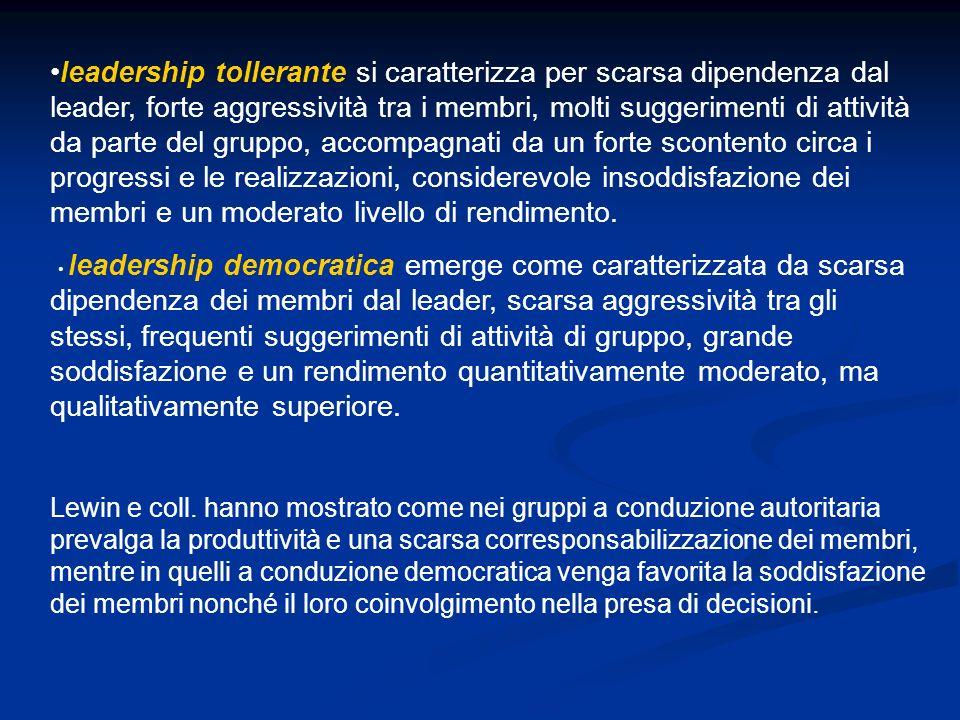 leadership tollerante si caratterizza per scarsa dipendenza dal leader, forte aggressività tra i membri, molti suggerimenti di attività da parte del g