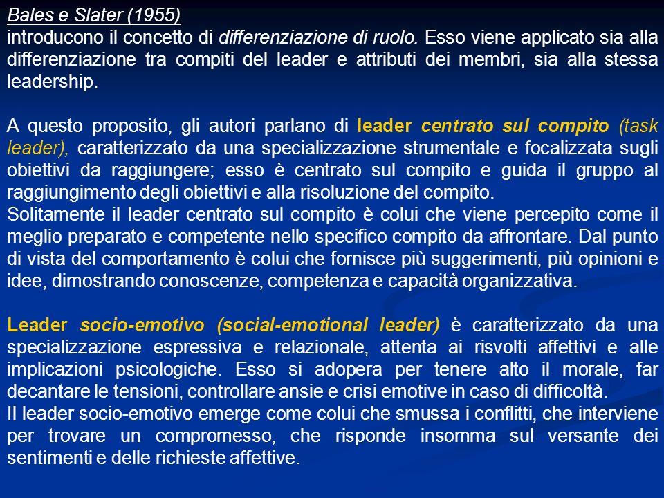 Bales e Slater (1955) introducono il concetto di differenziazione di ruolo. Esso viene applicato sia alla differenziazione tra compiti del leader e at