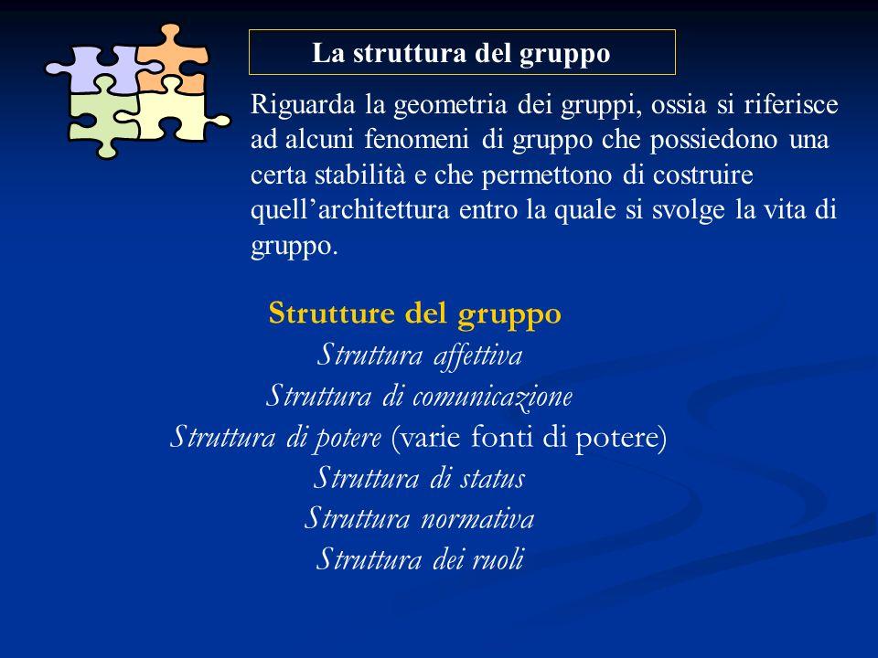 La struttura del gruppo Riguarda la geometria dei gruppi, ossia si riferisce ad alcuni fenomeni di gruppo che possiedono una certa stabilità e che per