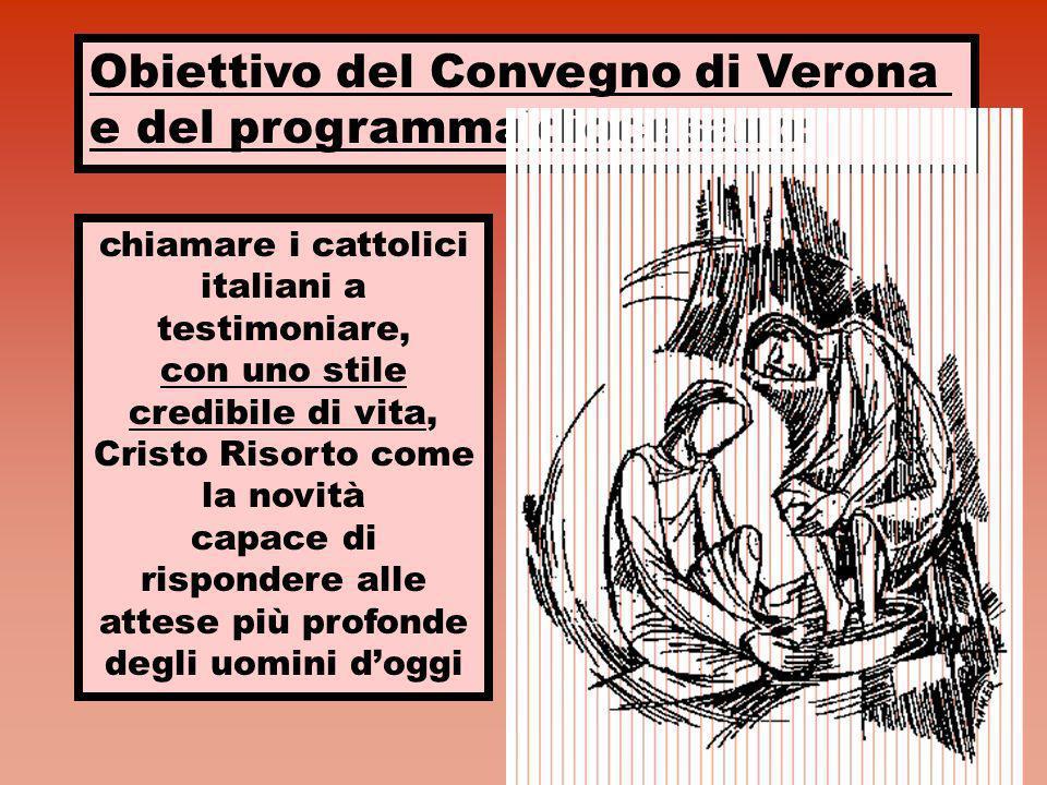 Obiettivo del Convegno di Verona e del programma diocesano: chiamare i cattolici italiani a testimoniare, con uno stile credibile di vita, Cristo Riso