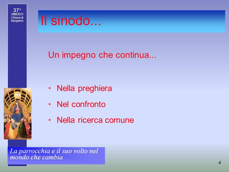 37° SINODO Chiesa di Bergamo La parrocchia e il suo volto nel mondo che cambia 5 Il programma pastorale per lanno 2007-2008.