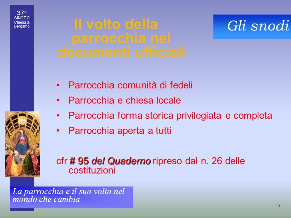 37° SINODO Chiesa di Bergamo La parrocchia e il suo volto nel mondo che cambia 8 Rilettura storica In seguito ai grandi cambiamenti culturali...
