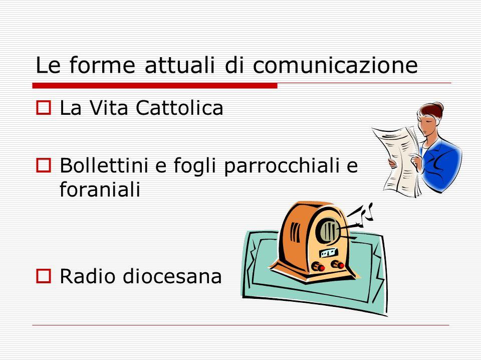 Le forme attuali di comunicazione La Vita Cattolica Bollettini e fogli parrocchiali e foraniali Radio diocesana