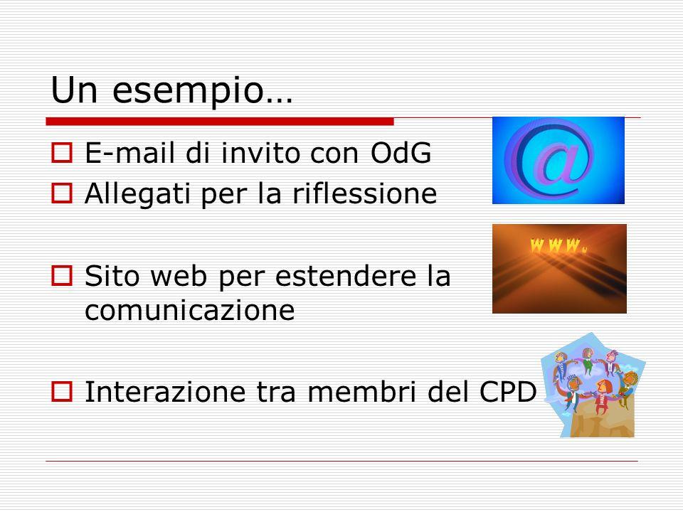 Un esempio… E-mail di invito con OdG Allegati per la riflessione Sito web per estendere la comunicazione Interazione tra membri del CPD