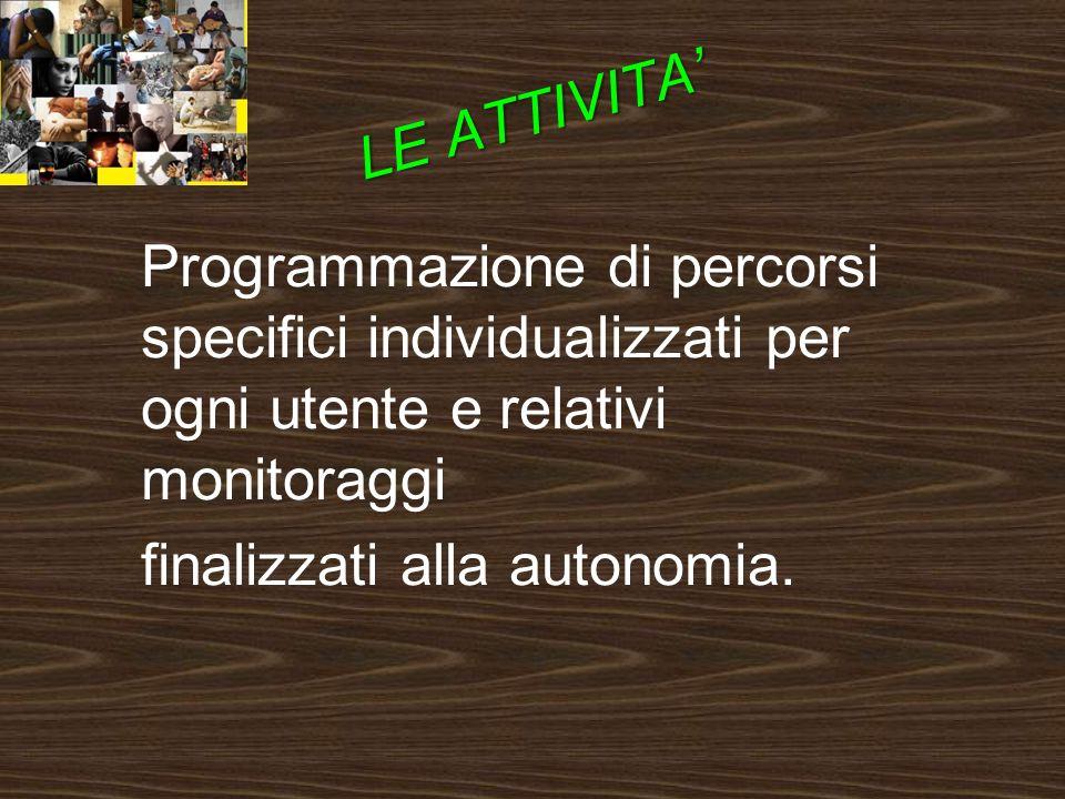 Programmazione di percorsi specifici individualizzati per ogni utente e relativi monitoraggi finalizzati alla autonomia.