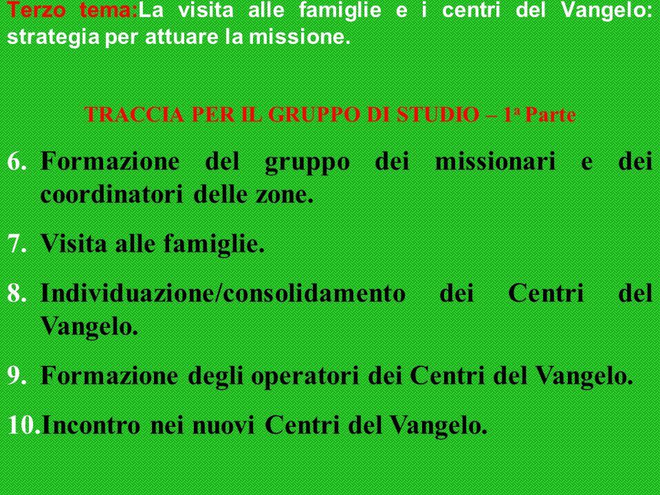 Terzo tema:La visita alle famiglie e i centri del Vangelo: strategia per attuare la missione.