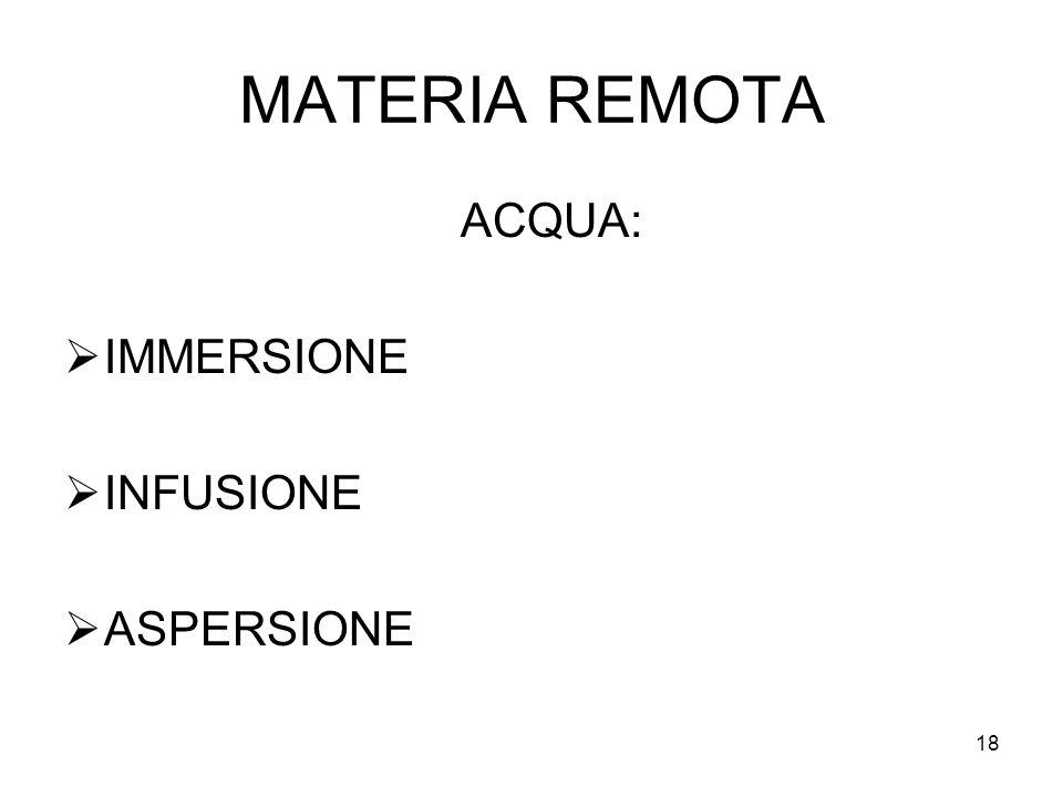 18 MATERIA REMOTA ACQUA: IMMERSIONE INFUSIONE ASPERSIONE