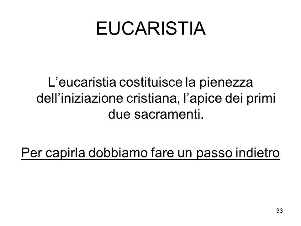 33 EUCARISTIA Leucaristia costituisce la pienezza delliniziazione cristiana, lapice dei primi due sacramenti. Per capirla dobbiamo fare un passo indie
