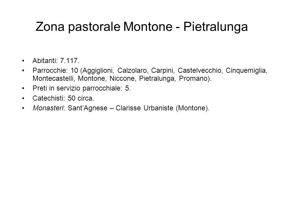 Zona pastorale Montone - Pietralunga Abitanti: 7.117. Parrocchie: 10 (Aggiglioni, Calzolaro, Carpini, Castelvecchio, Cinquemiglia, Montecastelli, Mont